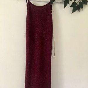 Burgundy Glitter Mini Dress